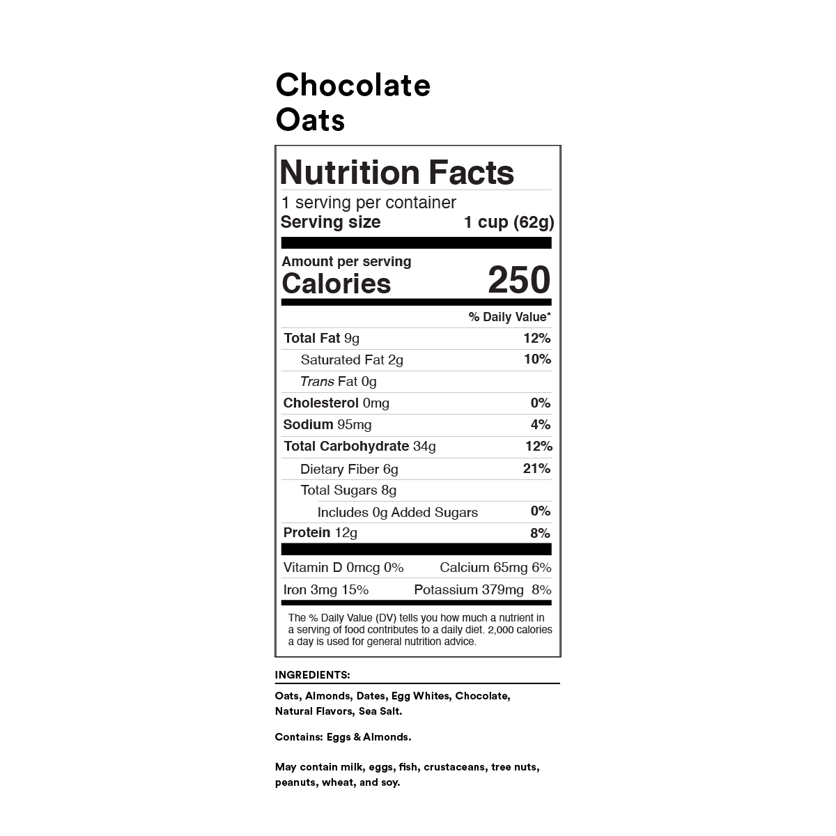 Chocolate Oats Nutrition Facts