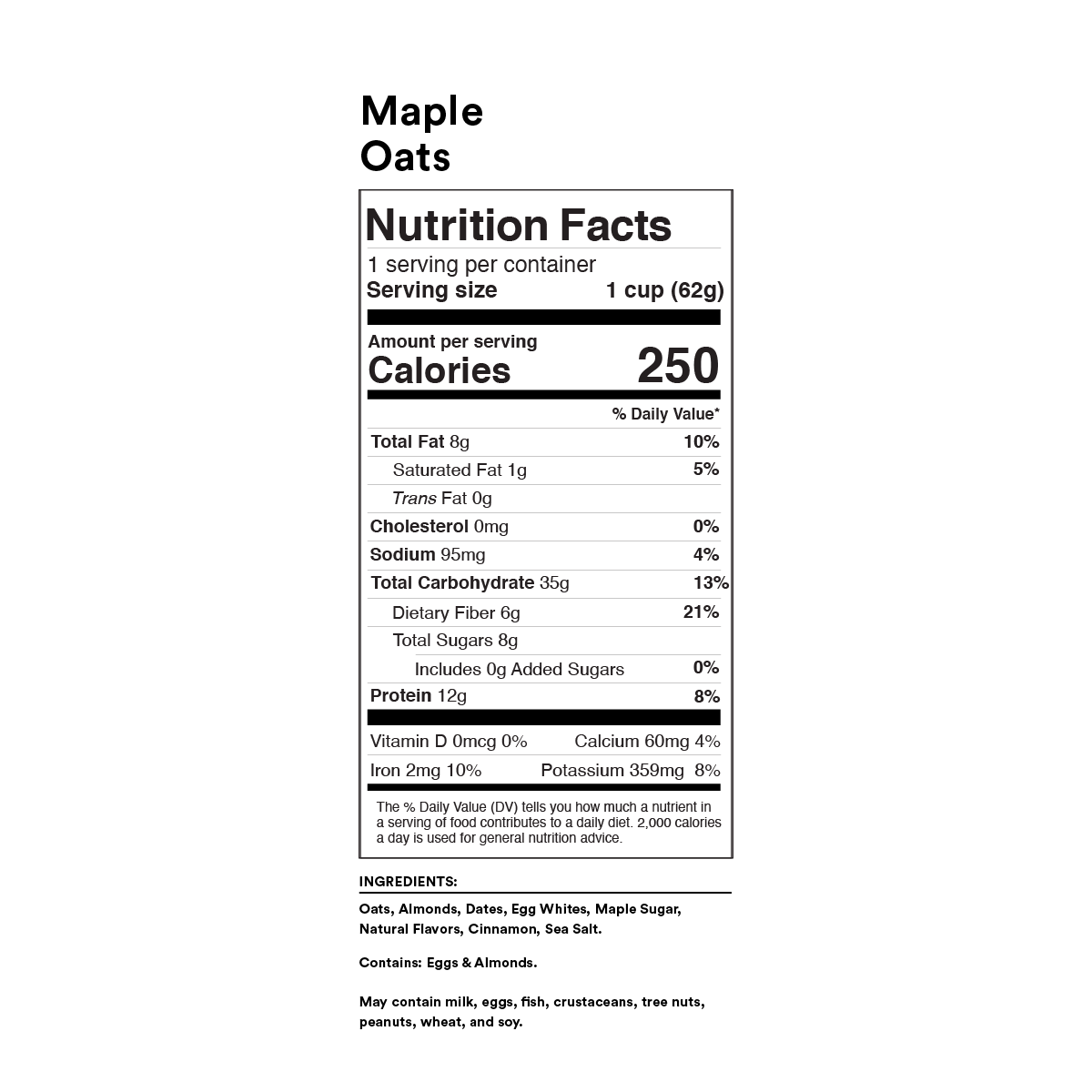 Maple Oats Nutrition Facts