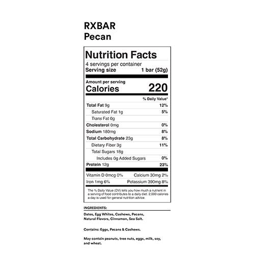Pecan RXBAR Nutrition Facts