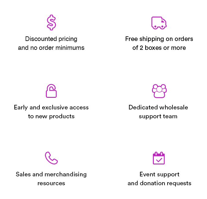 discounted pricing and no order minimums, free shipping on orders, early and exclusive access to new products, dedicated wholesale support team, sales and merchandising resources, event support and donation requests