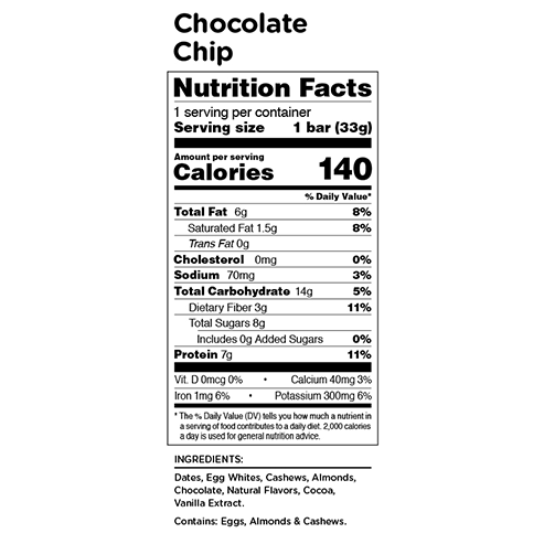RXBAR Kids Chocolate Chip Nutrition Facts