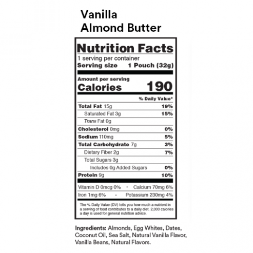 Vanilla Almond Butter Nutritional Facts